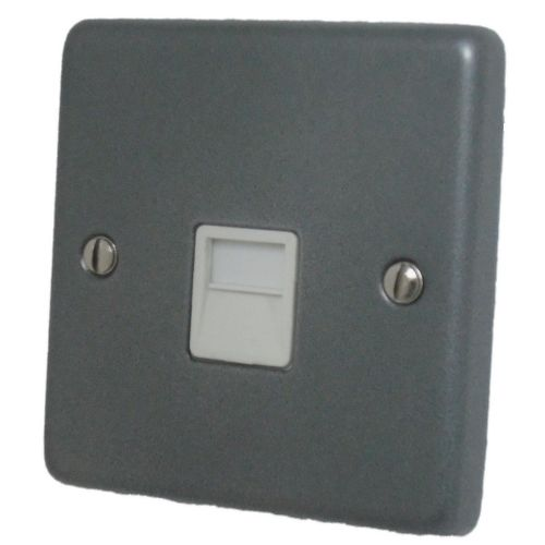G&H CP34W Standard Plate Pewter 1 Gang Slave BT Telephone Socket